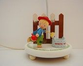 Vintage Kid's Lamp, Irmi Lamp, Little Boy Bedroom or Nursery Lamp, Boy Painting Fence
