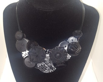 Button Collage Statement Necklace