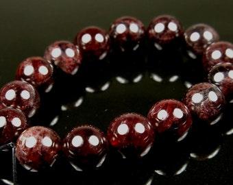 Dark Wine Red Garnet Round Bead  - 8mm - 15 beads - B5649