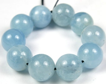Quality Natural Aquamarine Round Bead - 8.5mm - 10 Pieces - B3960