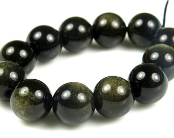 Golden Obsidian Round Bead - 10mm - 12 Pieces - B4451