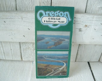 Vintage Oregon highway map official folded cities towns 1983