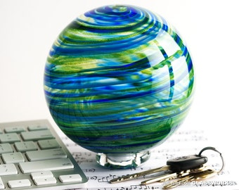 Hand Blown Glass Float - Blue and Sparkly Green Streaks
