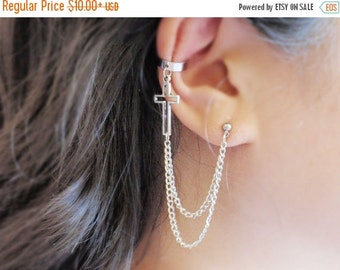 VALENTINES DAY SALE Cross Double Chain Ear Cuff (Pair)