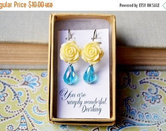 VALENTINES DAY SALE Ivory Rose and Blue Teardrop Earrings