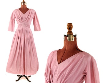Vintage 1950's Pink Polished Cotton Pleated Bodice Full A-line Skirt Garden Party Summer Dress S