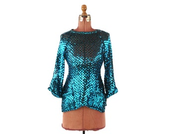 Vintage 1980's Teal Blue Metallic Sheer Knit Sequin Batwing Disco Avant Garde Sweater Shirt S M