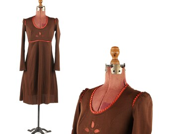 Vintage 1970's Brown + Copper Rustic Woodland Empire Waist Long Sleeve Retro Hippie Maxi Dress S