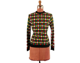 Vintage 1970's Funky Mod Houndstooth Abstract Geometric Retro Pull Over Nylon Shirt M