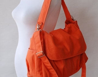 CHRISTMAS in July 30% - Father's Day SALE 30 Percent Off + Mysterious Gift - Pico in Orange (Water Resistant) Messenger Bag / Diaper bag / W