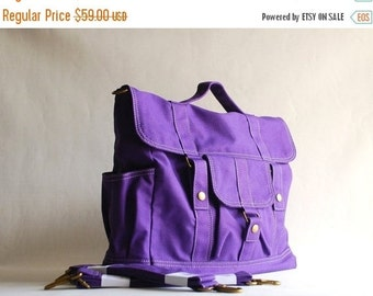 Back To School SALE 30% - Back To School SALE - 30 Percent Pico2 BackPack in Purple (Water Resistant) Shoulder Bag / Satchel / Rucksack / Me