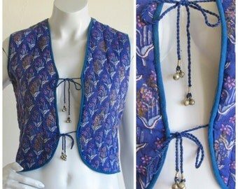 Purple Indian Cotton Floral Quilted Hand Painted Vest with Bell-Ties