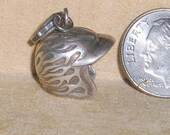 Vintage Sterling Silver Flaming Race Car Or Nascar Helmet Charm Or Pendant 1980's Full Figured Signed Jewelry A94