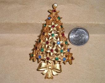 Vintage Rhinestone Star Christmas Tree Brooch Pin 1970's Jewelry K26