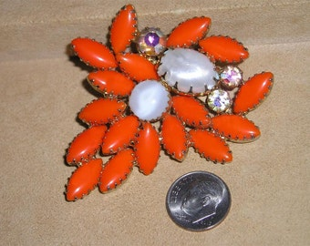 Vintage Orange Glass Iridescent Rhinestone Brooch 1960's Jewelry 3015
