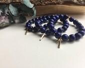 Handnade Lapis Lazuli + Gold Gemstone Bracelet