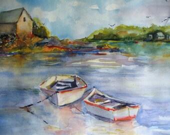 "Watercolor Painting Seascape Print Art 2 Boats Fish House "" A Trip To The Island"" Carlie Degaetano CarlottasArt"