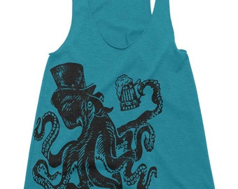 Otto the Octopus Tri-Blend Racerback Tank - Octopus Art Print Womens Graphic Tees Shirt Nautical Ocean Beach - Running Tank Top Gym Tank