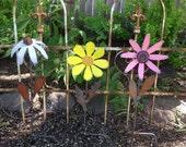 Flower, Rusty Flower, Metal Flower, painted Flowers, garden Flower, Garden Decoration,