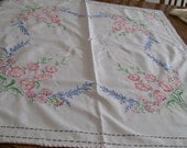 Embroidered Vintage Tablecloth Topper Beautiful Pastel Flowers