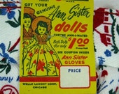 Vintage 1957 Counter Display Box for Handy Ann Garden Gloves, Pr Gloves & Coupon for Pair of Ann Sister Dolls Red White Blue trustyboomer