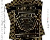 Roaring 20's Invitation, Great Gatsby Party Invitation, Black and Gold Retro Invitation - PRINTABLE