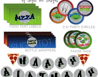Ninja Turtle Party Printables, Teenage Ninja Turtle Inspired Birthday Party, Banner, Cupcake Toppers, Wrappers, Favor Tags - PRINTABLE