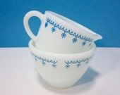 Corning Sugar Bowl and Creamer Set / Corelle Blue Snowflake Pattern / Pyrex / Made in U.S.A. / Milk Glass