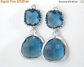 SALE Glass Earrings, Blue Earrings, Navy Blue Earrings, Silver, Dark Blue, Sapphire Blue, Bridesmaid Earrings, Bridal Jewelry, Bridesmaid Gi
