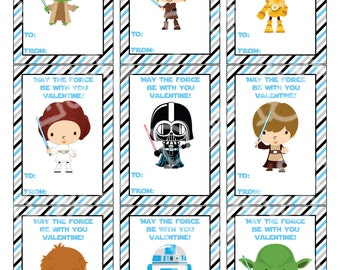 Star Wars Valentine's Day Cards, Valentine's Day Cards, Printable,Instant Download, Digital