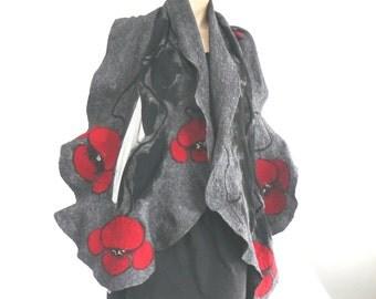 Felted Scarf Nunofelt Nuno Felted Shawl Grey Nuno Felt Scarves Felt Wrap flowers wearable art Silk Fiber Art