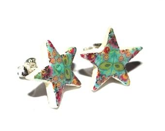 Handmade Ceramic Sterling Silver Stud Earrings Colourful Stars
