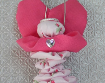 Pink Rosebud Yo Yo Angel Ornament