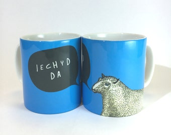 Iechyd Da Welsh Good Health Cheers Sheep Royal Blue Ceramic Mug 11oz