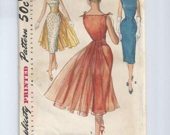 Vintage 1956 Cocktail Dress Pattern Wiggle Bust 34 Simplicity 1679 UNCUT