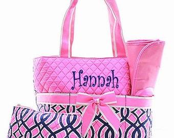 Personalized Geometric Vine Pattern Quilted Diaper Bag Set - Pink & Navy 3 piece Diaperbag Set FREE Monogram
