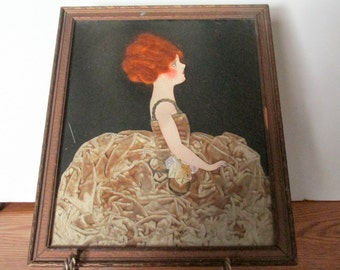 Art Deco, Framed Lady, Ribbon Lady, Cut Out Art, Velvet Gown, Red Hair, Flapper Style Lady, Wall Hanging, Vintage Collectible