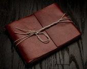 Leather Journal or Leather Sketchbook, Large Sized, Chili Red-Brown Leather Handbound Photo Album