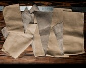 Mixed Leather Scraps, Taupe Colored, 8.1oz / 230g, Large Size Leather Destash