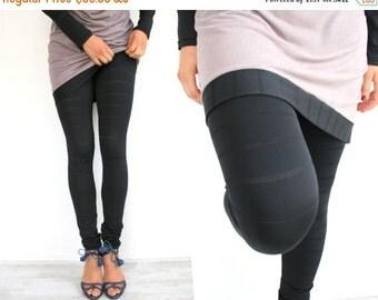 SALE Black leggings, soft lycra leggings, striped, black tights, made to order in S-XXL