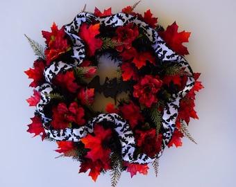 Halloween Vampire Bat Wreath Black Red White Gothic Fall Wreath Halloween Door Wreath (FW148)