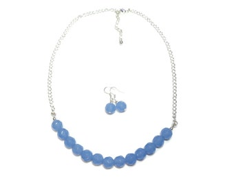 Chalcedony Blue Glass Necklace & Earring Set - Blue Glass Jewelry - Gift Set Jewelry - Periwinkle Necklace and Earrings - Gemstone Jewellery