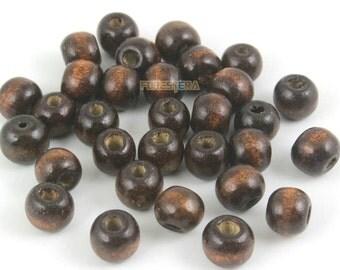 8mm Wood Bead Dark Brown Wood Bead for Jewelry (BEAD-A45-8)