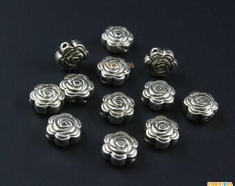 50Pcs Antique Silver Rose Flower Bead Rose Charm Rose Flower Pendant 8x4mm (PND994)