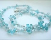 Aquamarine Necklace - March birthstone - Delicate Necklace - Light blue necklace - Beaded Necklace - Pale blue -March Birthday - Mothers Day