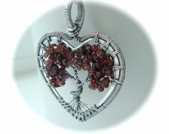 Wire wrapped Tree of life necklace - Valentines Gift - Heart Necklace - Mothers Day - Garnet pendant - Heart jewelry - January Birthstone