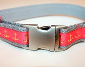 Dog collar Nautical Dog Collar Coral Dog Collar Summer Collar Anchor Dog Collar  Girl Dog Collar Grey Dog Collar Large Collar Small Collar