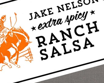 Personalized Rodeo Labels or Tags, Salsa, Hot Sauce, Spicy Rub, with Bucking Bronco and Cowboy set of 18