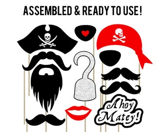 Pirate Photo Booth Props . Set of 12 . Pirate Birthday Party Decorations . Ahoy Matey . Skull and Bones . Halloween Photo Props