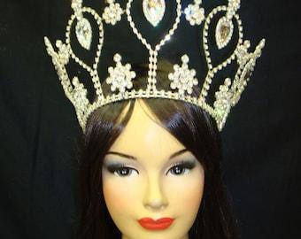 Showgirl Ballet Queen Beaty Pageant Headdress Crown Tiara
